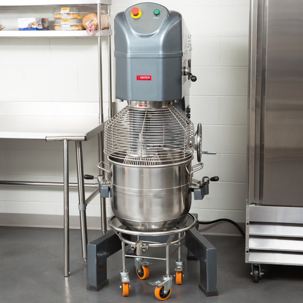 Avantco MX60 60 Qt. Gear Driven Commercial Planetary Floor Mixer with Stainless Steel Bowl Guard - 240V, 2 1/2 hp