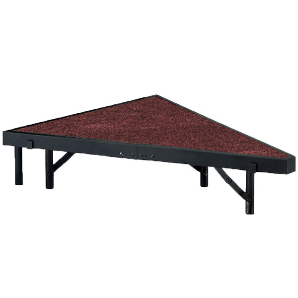 "National Public Seating SP368C Portable Stage Pie Unit with Red Carpet - 36"" x 8"""