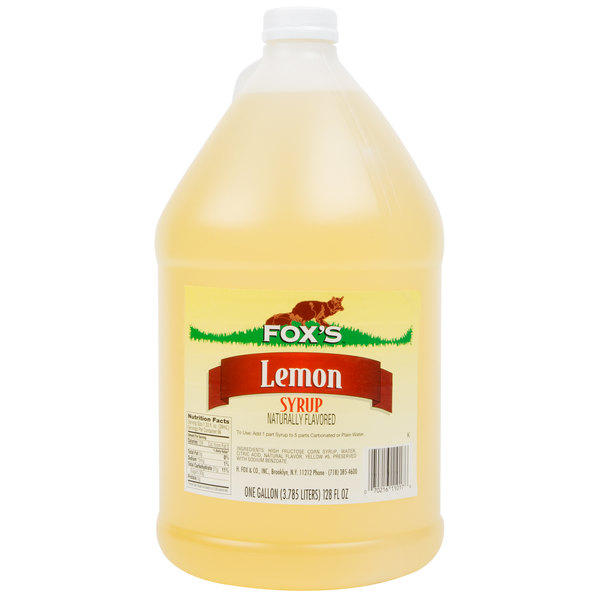 Fox's 1 Gallon Lemon Syrup - 4/Case