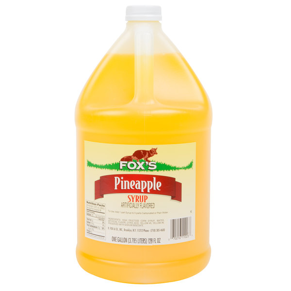 Fox's 1 Gallon Pineapple Syrup - 4/Case