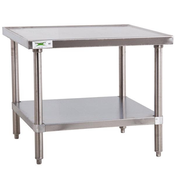 """Regency 30"""" x 30"""" 16-Gauge Stainless Steel Mixer Table with Undershelf"""