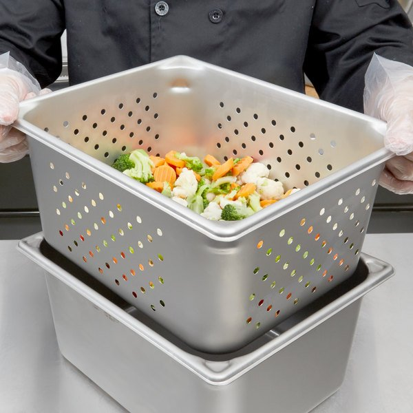 """Vollrath 30263 Super Pan V® 1/2 Size Anti-Jam Stainless Steel Perforated Steam Table / Hotel Pan - 6"""" Deep"""