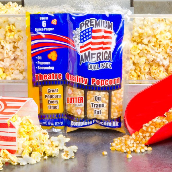 Great Western Premium America All-In-One Popcorn Kit for 6 oz. Popper - 36/Case Main Image 2