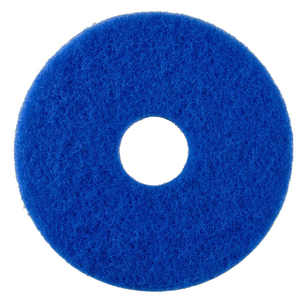 """Scrubble by ACS 53-10 Type 53 10"""" Blue Cleaning Floor Pad - 5/Case"""
