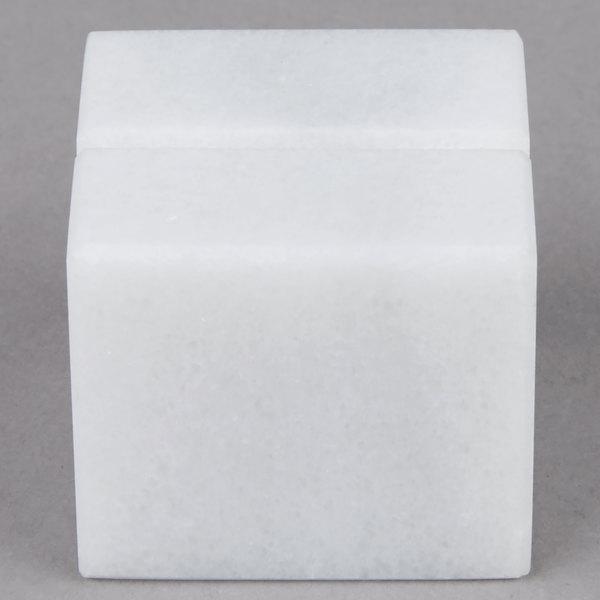 "American Metalcraft MCHW125 1"" White Marble Card Holder"