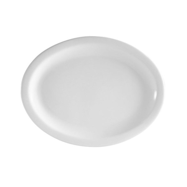 "CAC NCN-13 Clinton 11 1/2"" Bright White Narrow Rim Porcelain Platter - 12/Case"