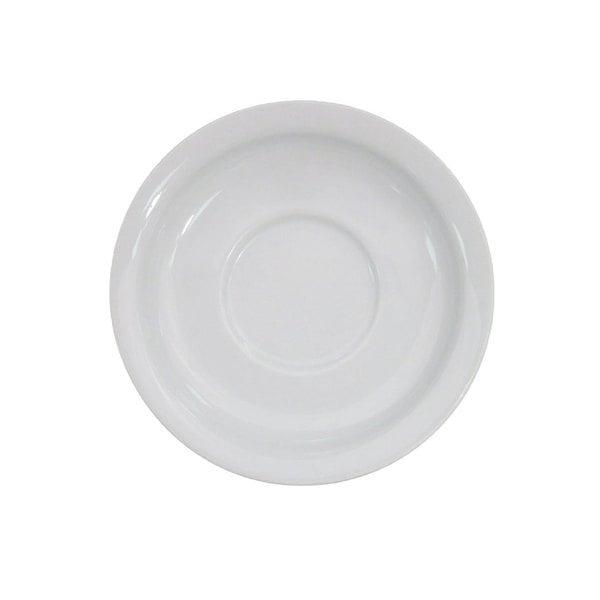 "CAC NCN-2 Clinton 5 5/8"" Bright White Narrow Rim Porcelain Saucer - 36/Case"