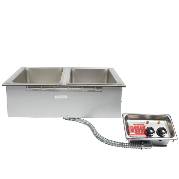 APW Wyott HFW-2DT Insulated Two Pan Drop In Hot Food Well with Thermostatic Controls and Drain