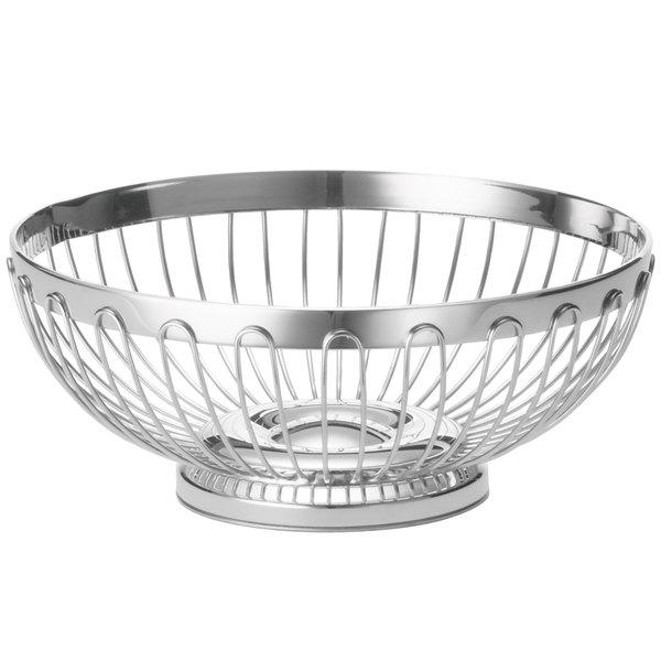Tablecraft 6170 Round Stainless Steel Regent Basket - 8 inch x 3 1/4 inch