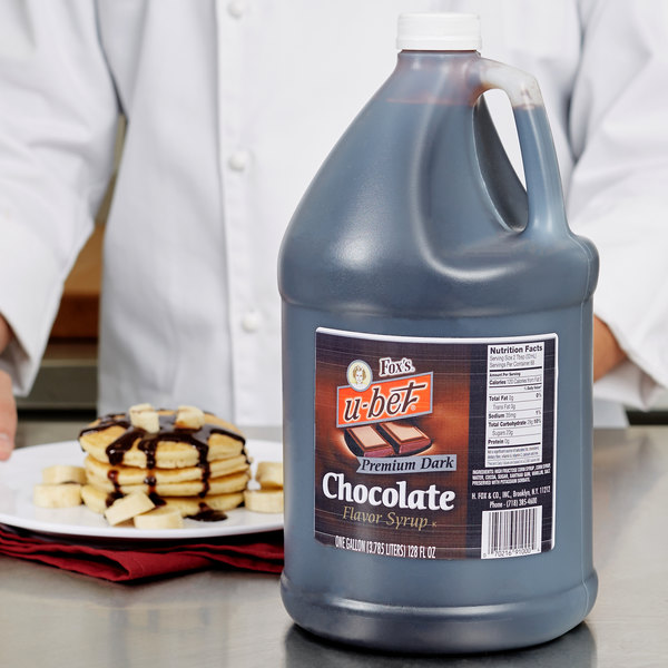 Fox's U-Bet 1 Gallon Premium Dark Chocolate Syrup - 4/Case