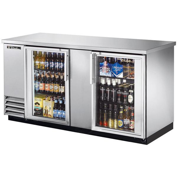 "True TBB-3G-S-LD 69"" Stainless Steel Glass Door Back Bar Refrigerator with LED Lighting"