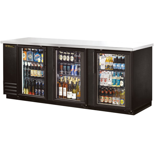 True TBB-4G-LD 90 inch Glass Door Back Bar Refrigerator with LED Lighting