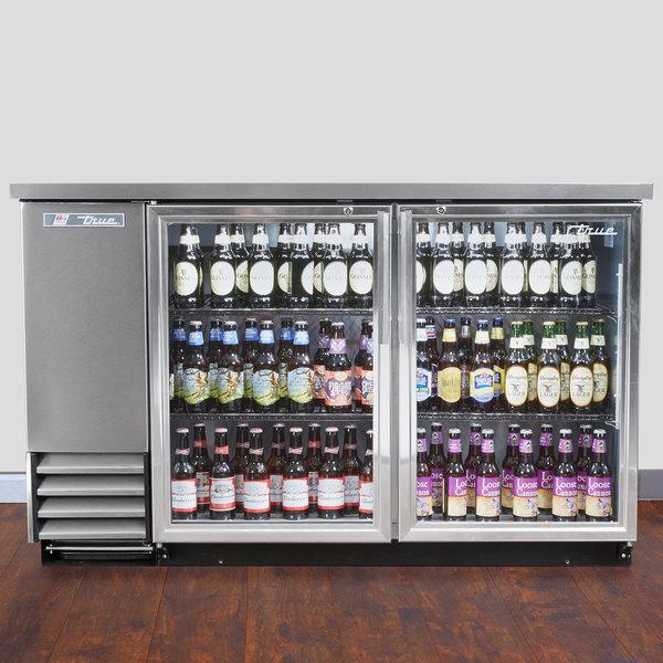 "True TBB-2G-S-LD 59"" Stainless Steel Glass Door Back Bar Refrigerator with LED Lighting"