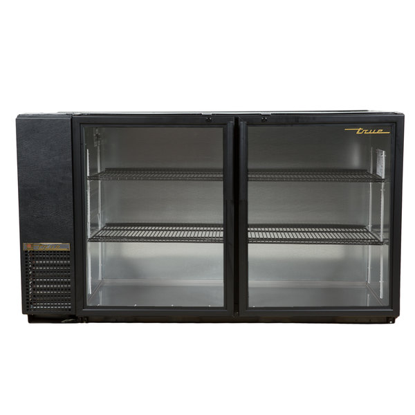 "True TBB-24GAL-60G-LD 60"" Black Narrow Glass Door Back Bar Refrigerator with Galvanized Top and LED Lighting"
