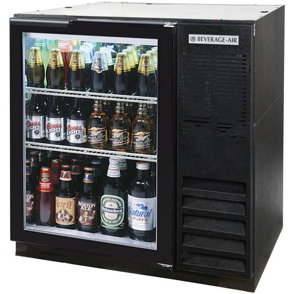 "Beverage-Air BB36G-1-B-LED-WINE 36"" Black Glass Door Back Bar Wine Refrigerator"