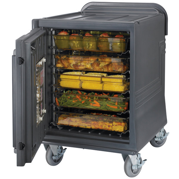 Cambro CMBPLHHD Charcoal Gray Electric Combo Cart Plus with Heavy Duty Casters Low Profile - 110V