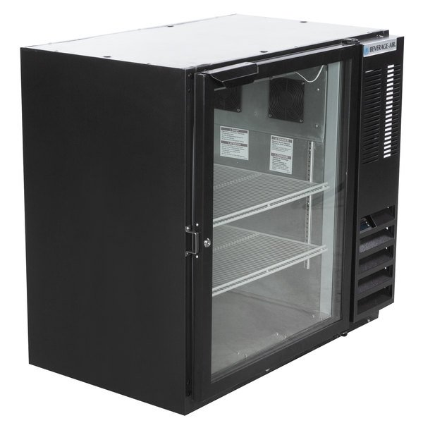 "Beverage-Air BB36HC-1-G-B 36"" Black Glass Door Back Bar Refrigerator Main Image 1"