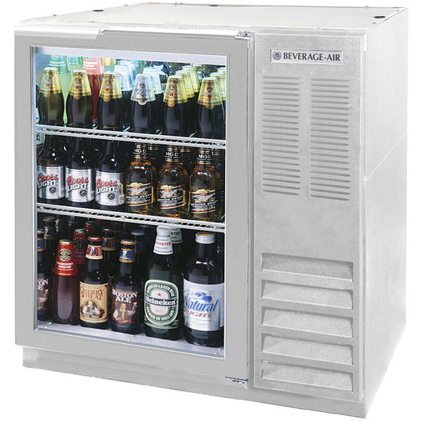 "Beverage-Air BB36HC-1-G-S 36"" Stainless Steel Glass Door Back Bar Refrigerator"