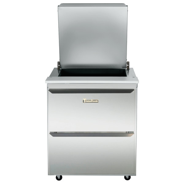 """Traulsen UST279-D-SB 27"""" 2 Drawer Stainless Steel Back Refrigerated Sandwich Prep Table Main Image 1"""
