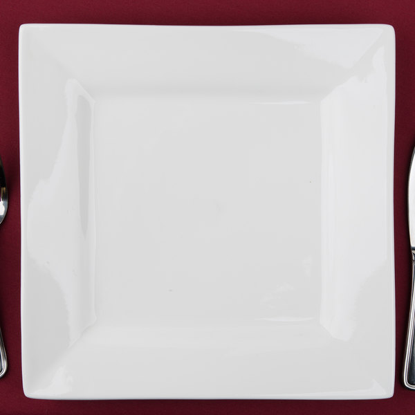 "10 Strawberry Street WTR-12SQ Whittier Squares 11 5/8"" White Square Porcelain Charger Plate - 6/Case"
