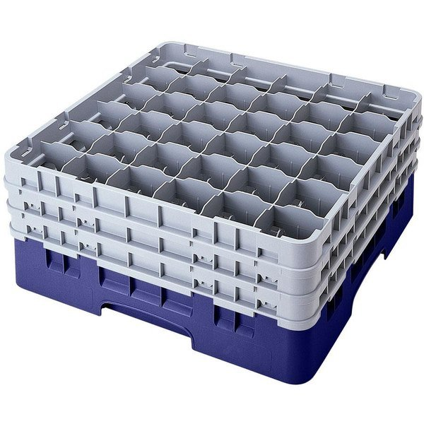 "Cambro 36S434186 Navy Blue Camrack Customizable 36 Compartment 5 1/4"" Glass Rack Main Image 1"