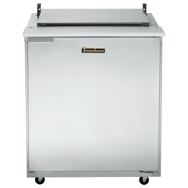 "Traulsen UST276-R-SB 27"" 1 Right Hinged Door Stainless Steel Back Refrigerated Sandwich Prep Table"