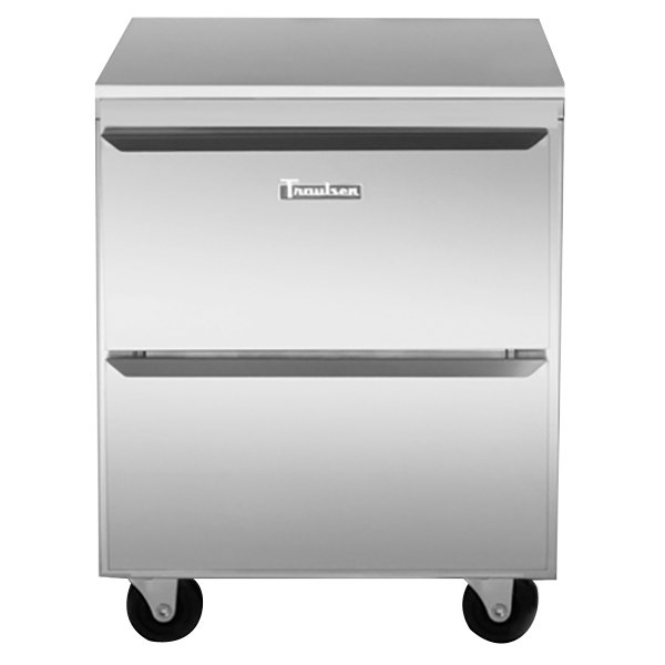 """Traulsen UHT27-D-SB 27"""" Undercounter Refrigerator with 2 Drawers and Stainless Steel Back"""