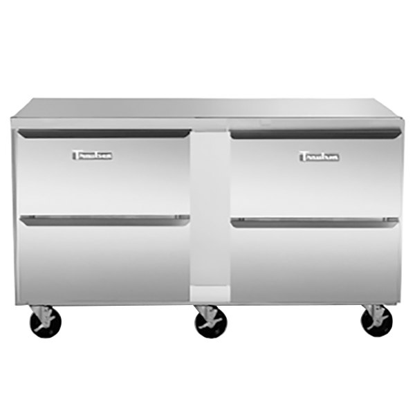 """Traulsen UHT72-DD-SB 72"""" Undercounter Refrigerator with 4 Drawers and Stainless Steel Back"""