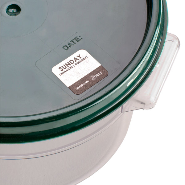 """Noble Products Sunday 1"""" Dissolvable Day of the Week Label - 1000/Roll"""