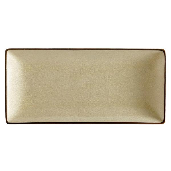 """CAC 666-13-W 11 1/2"""" x 6 1/2"""" Japanese Style Rectangular China Plate - Black Non-Glare Glaze / Creamy White - 12/Case"""