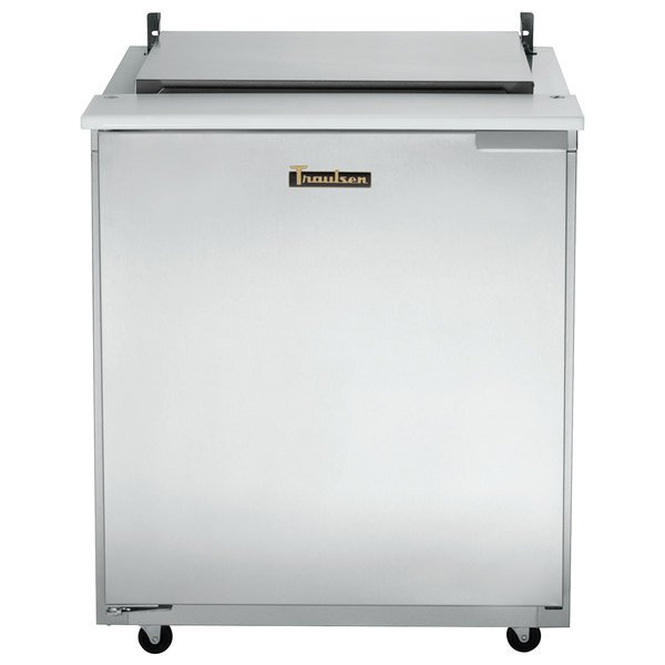 "Traulsen UST3212-L-SB 32"" 1 Left Hinged Door Stainless Steel Back Refrigerated Sandwich Prep Table Main Image 1"