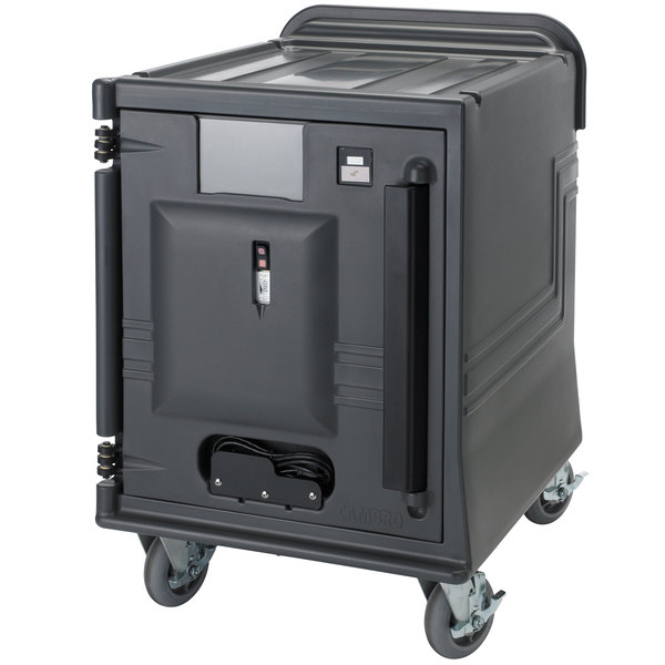 Cambro CMBPLH Charcoal Gray Electric Combo Cart Plus with Standard Casters and Security Package Low Profile - 110V