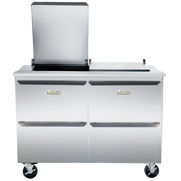 """Traulsen UST7224-DD-SB 72"""" 4 Drawer Stainless Steel Back Refrigerated Sandwich Prep Table"""