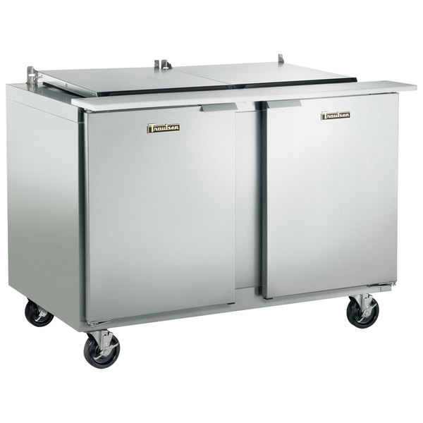 "Traulsen UST488-LR-SB 48"" 1 Left Hinged 1 Right Hinged Door Stainless Steel Back Refrigerated Sandwich Prep Table Main Image 1"