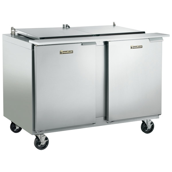 "Traulsen UST7224-LL-SB 72"" 2 Left Hinged Door Stainless Steel Back Refrigerated Sandwich Prep Table"