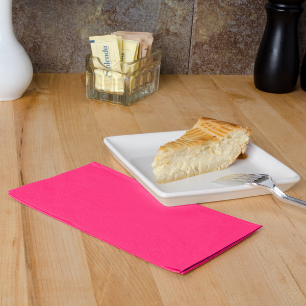 """Raspberry Pink Paper Dinner Napkins, 2-Ply, 15"""" x 17"""" - Hoffmaster 180532 - 1000/Case"""