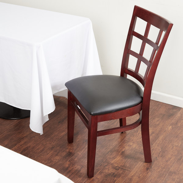 "Preassembled Lancaster Table & Seating Mahogany Wooden Window Back Chair with 2 1/2"" Padded Seat"