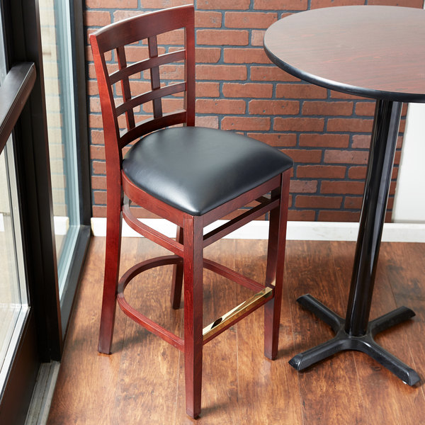 Preassembled Lancaster Table & Seating Mahogany Window Back Bar Height Chair with Black Padded Seat