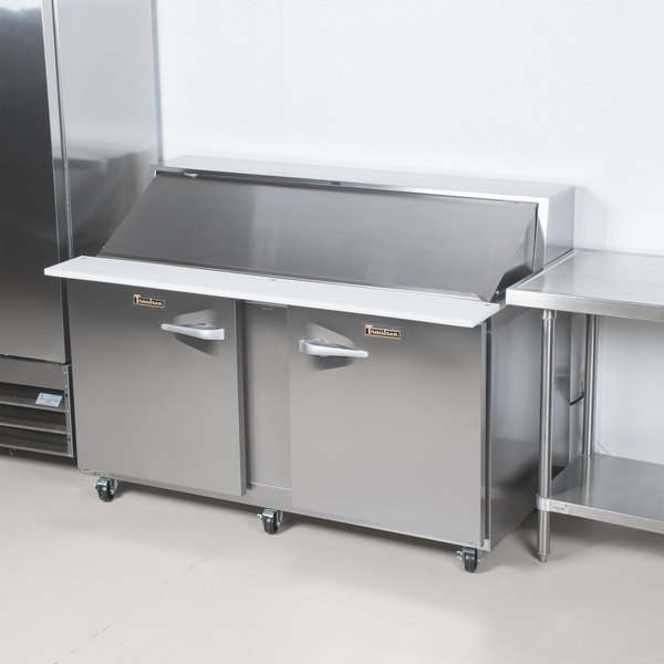 "Traulsen UPT7212-LR 72"" 1 Left Hinged 1 Right Hinged Door Refrigerated Sandwich Prep Table"