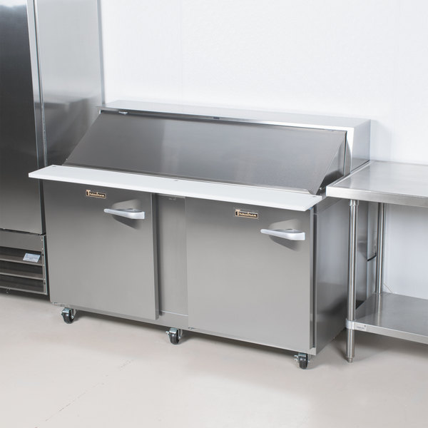 """Traulsen UPT6024-LL-SB 60"""" 2 Left Hinged Door Stainless Steel Back Refrigerated Sandwich Prep Table Main Image 11"""