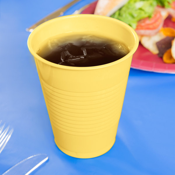 Creative Converting 28102081 16 oz. Mimosa Yellow Plastic Cup - 240/Case Main Image 3