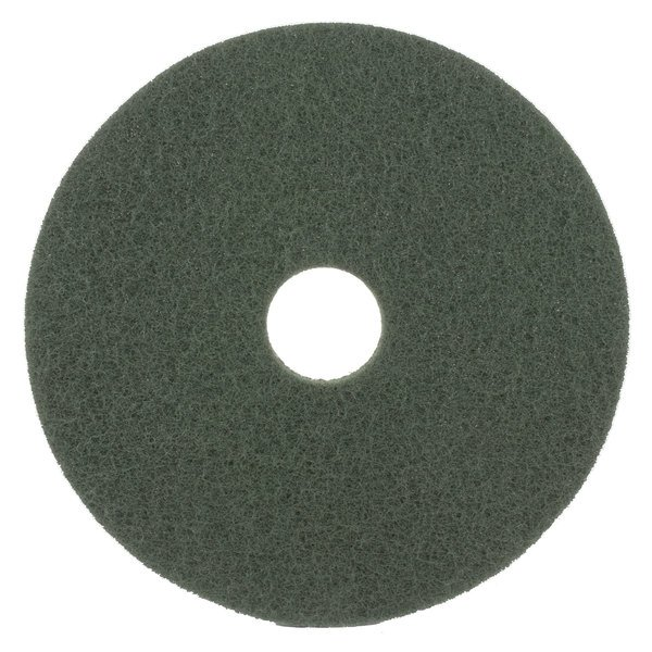 """Scrubble by ACS 55-17 Type 55 17"""" Green Scrubbing Floor Pad - 5/Case Main Image 1"""