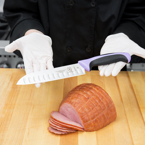 "Mercer Culinary M22707PU Millennia 7"" Granton Edge Santoku Knife with Purple Handle"