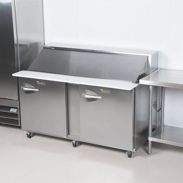 """Traulsen UPT7218-RR-SB 72"""" 2 Right Hinged Door Stainless Steel Back Refrigerated Sandwich Prep Table"""