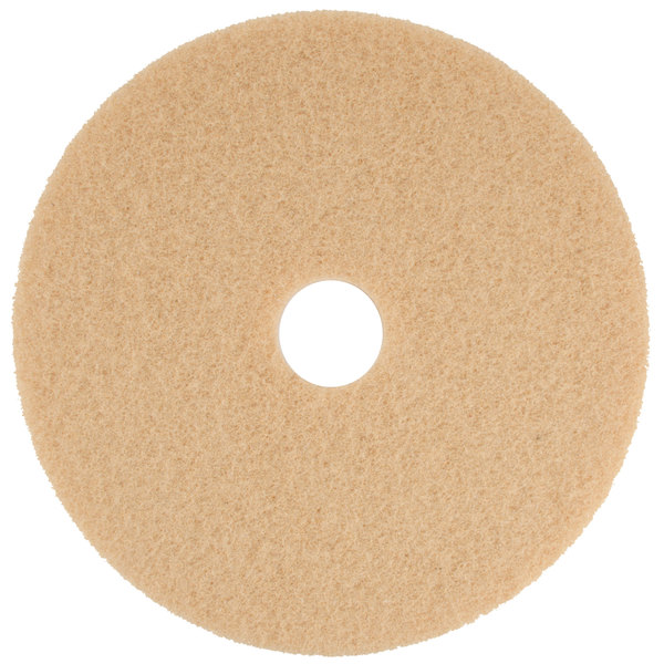 """Scrubble by ACS 34-20 20"""" Tan Buffing Floor Pad - Type 34 - 5/Case"""