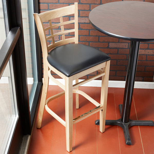 Lancaster Table & Seating Natural Window Back Bar Height Chair with Black Padded Seat