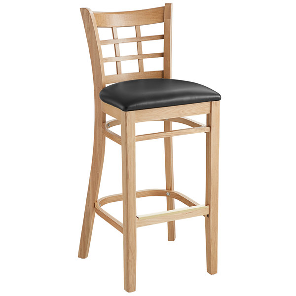 Lancaster Table & Seating Natural Window Back Bar Height Chair with Black Padded Seat Main Image 1