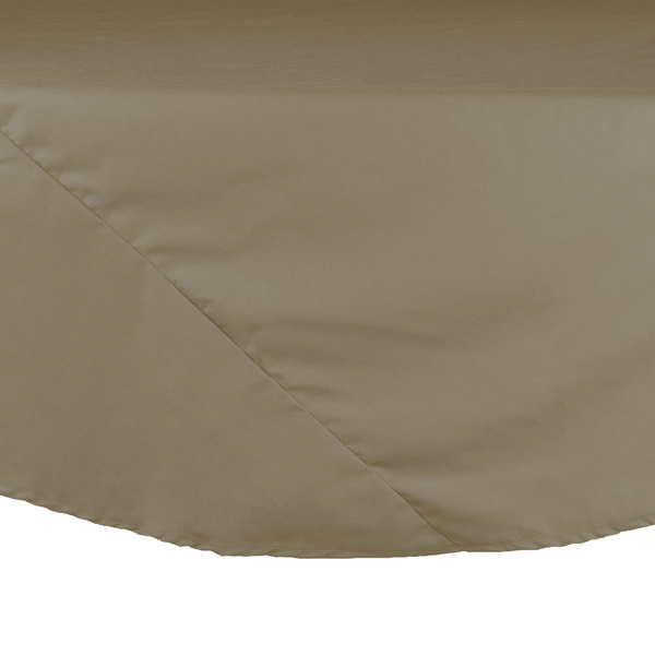 "Intedge 120"" Round Beige Hemmed Polyspun Cloth Table Cover Main Image 1"