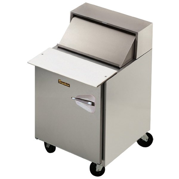 "Traulsen UPT279-L-SB 27"" 1 Left Hinged Door Stainless Steel Back Refrigerated Sandwich Prep Table"