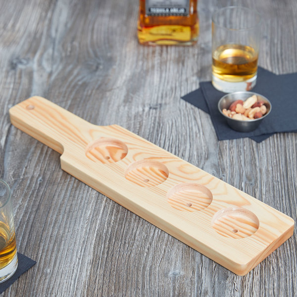 """Core 14 1/2"""" x 3 1/2"""" Four-Hole Natural Finish Wood Beer Flight Sampler Paddle"""